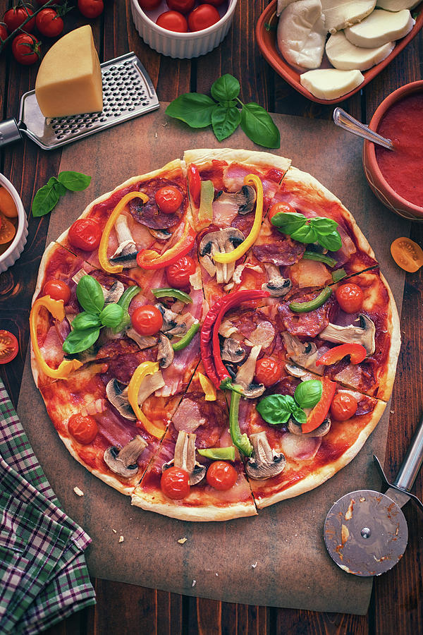 Pizza With Ingredients Photograph by Kajakiki