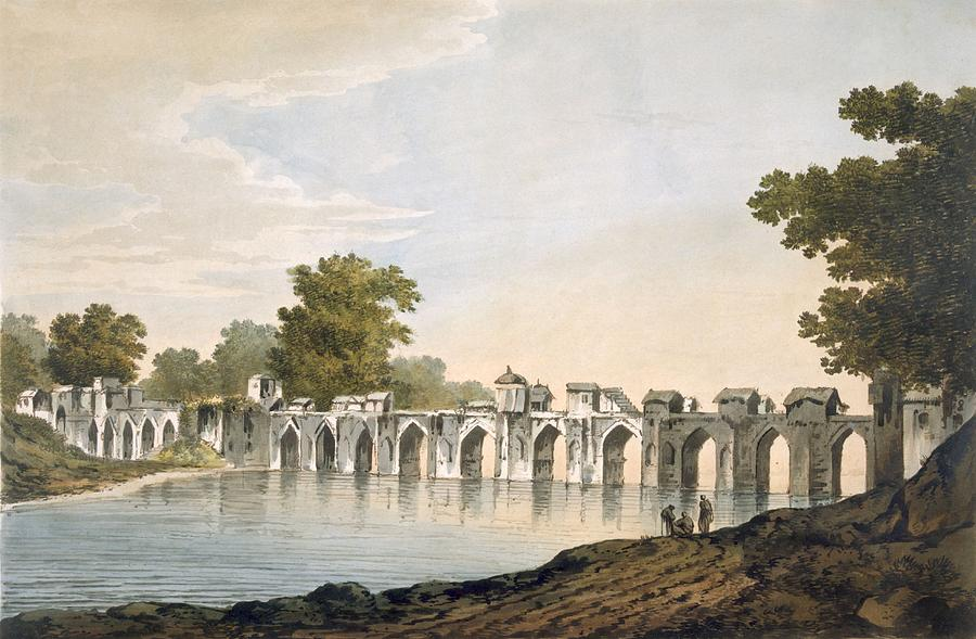 Water Drawing - Pl. 34 A View Of The Bridge by William Hodges