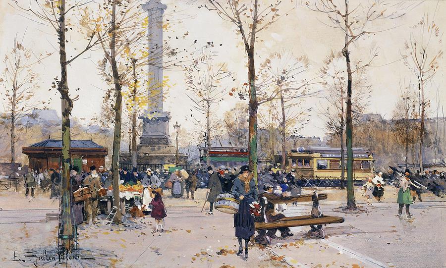 Monument Painting - Place De La Bastille Paris by Eugene Galien-Laloue
