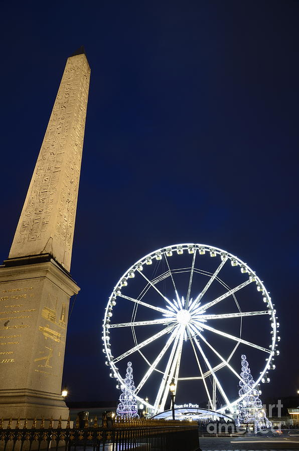 Christmas Lights Photograph - Place De La Concorde And The Ferris Wheel At Christmas Time by Sami Sarkis