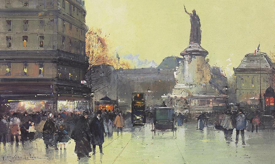 Paris Painting - Place de la Republique by Eugene Galien-Laloue