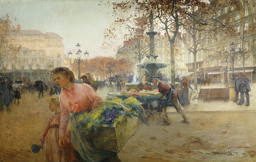 1900s Painting - Place Du Theatre Francais Paris by Eugene Galien-Laloue