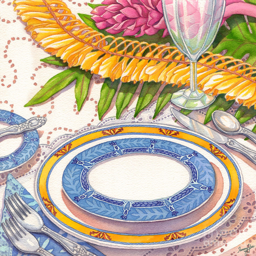 Dining Painting - Place Setting With Ginger Lei by Tammy Yee