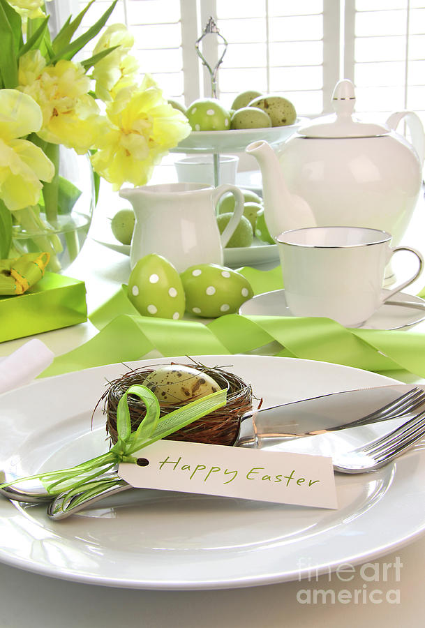 Anniversary Photograph - Place Setting With Place Card Set For Easter by Sandra Cunningham