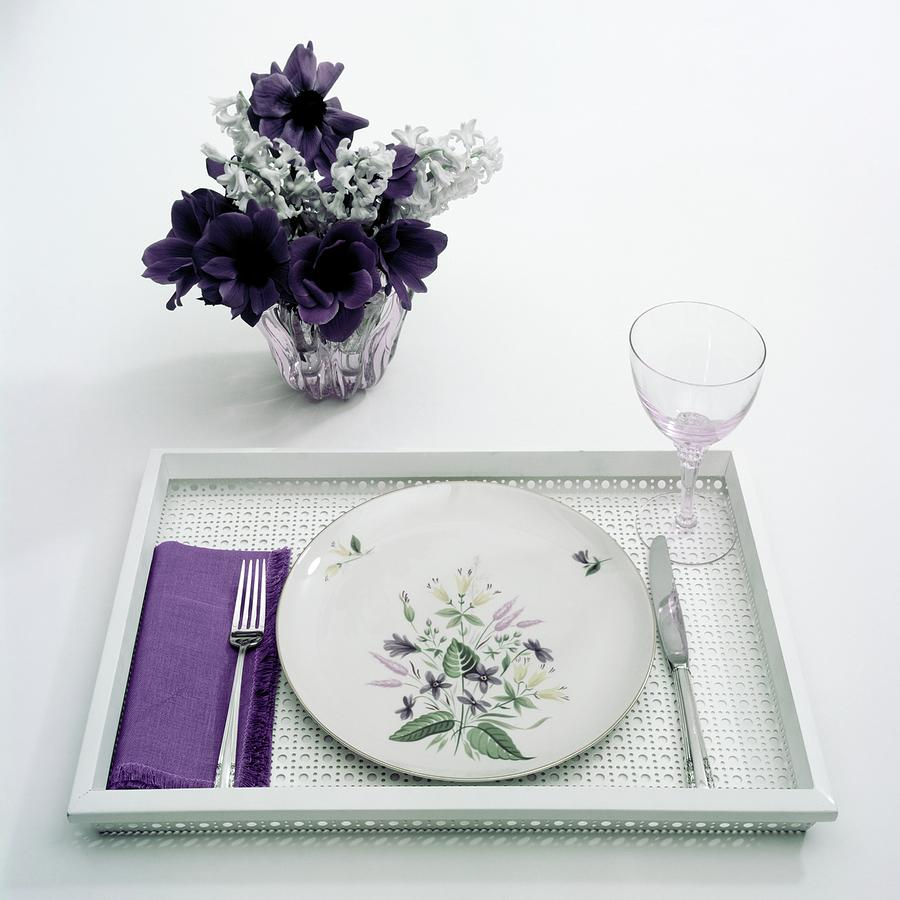 Place Setting With With Flowers Photograph by Haanel Cassidy