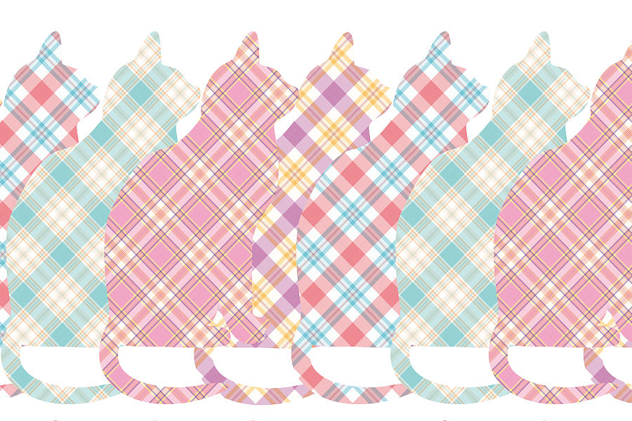 Cats Digital Art - Plaid Cats by Peggy Collins
