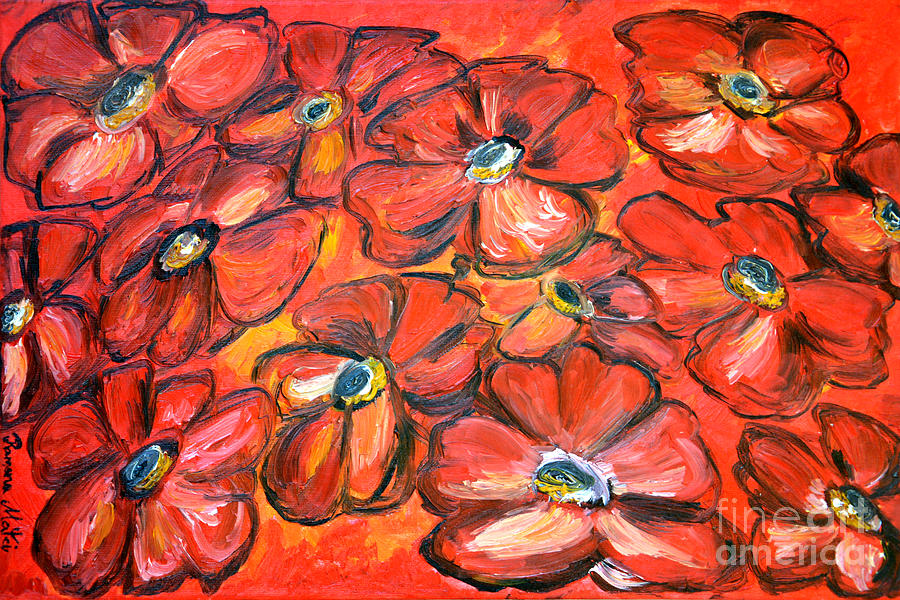 Floral Painting - Plaisir Rouge by Ramona Matei