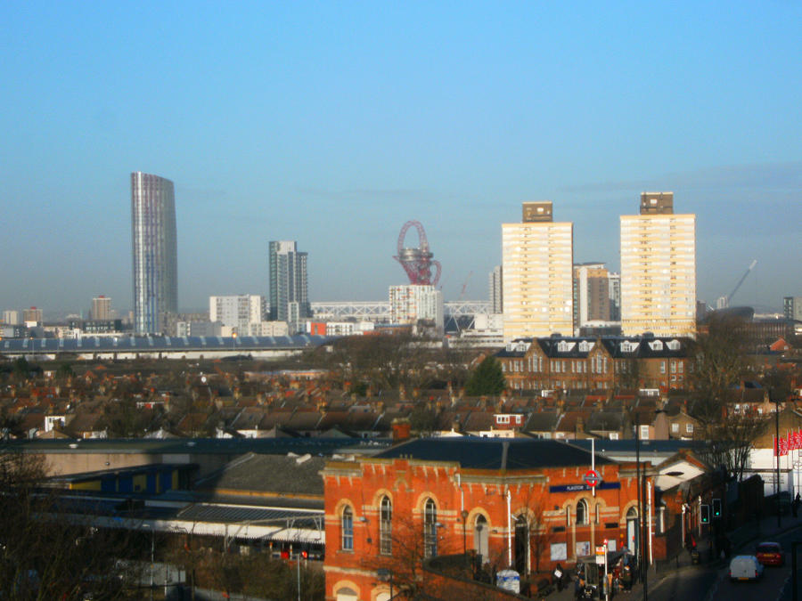 Landscape Photograph - PLAISTOW STATION  and on towards Stratford by Mudiama Kammoh
