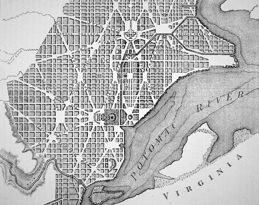 Maps Drawing - Plan Of The City Of Washington As Originally Laid Out In 1793 by American School
