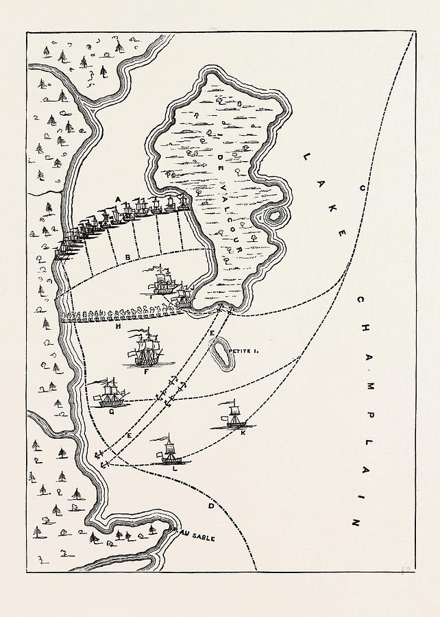 Plan Drawing - Plan Of The Defeat Of The American Fleet, Under Benedict by English School