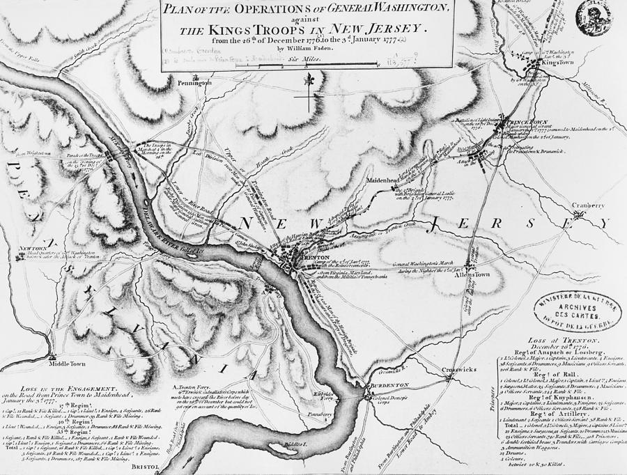 Map Drawing - Plan Of The Operations Of General Washington Against The Kings Troops In New Jersey by William Faden