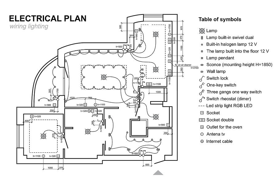 plan wiring lighting  electrical schematic interior  set of standard icons  switches, electrical symbols