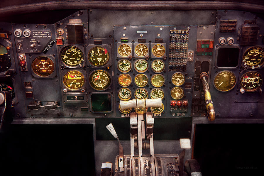 Savad Photograph - Plane - Cockpit - Boeing 727 - The Controls Are Set by Mike Savad