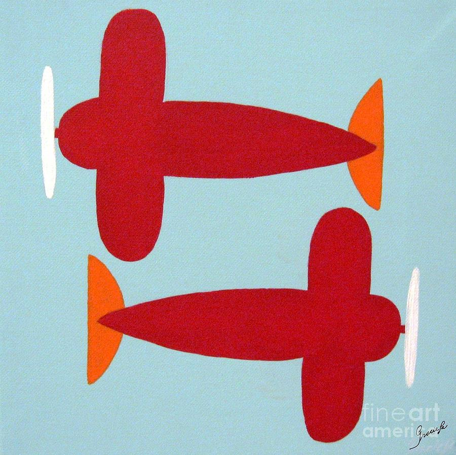 Kids Art Painting - Planes  by Graciela Castro