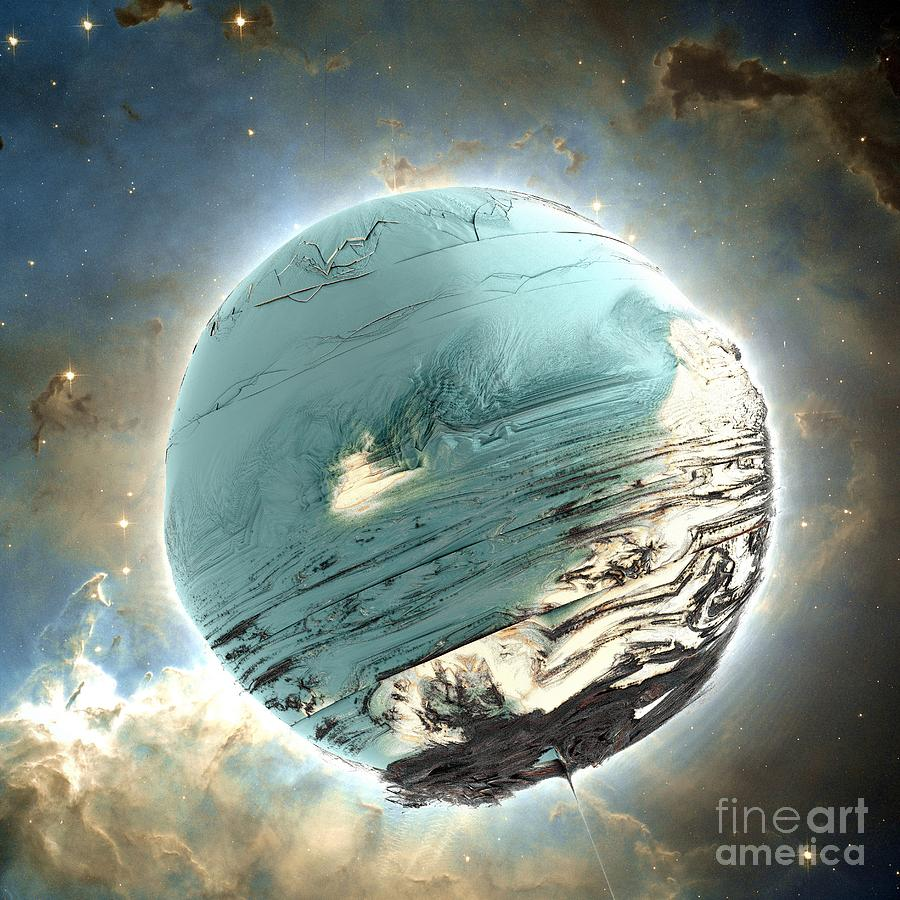 Digital Digital Art - Planet Blue by Bernard MICHEL