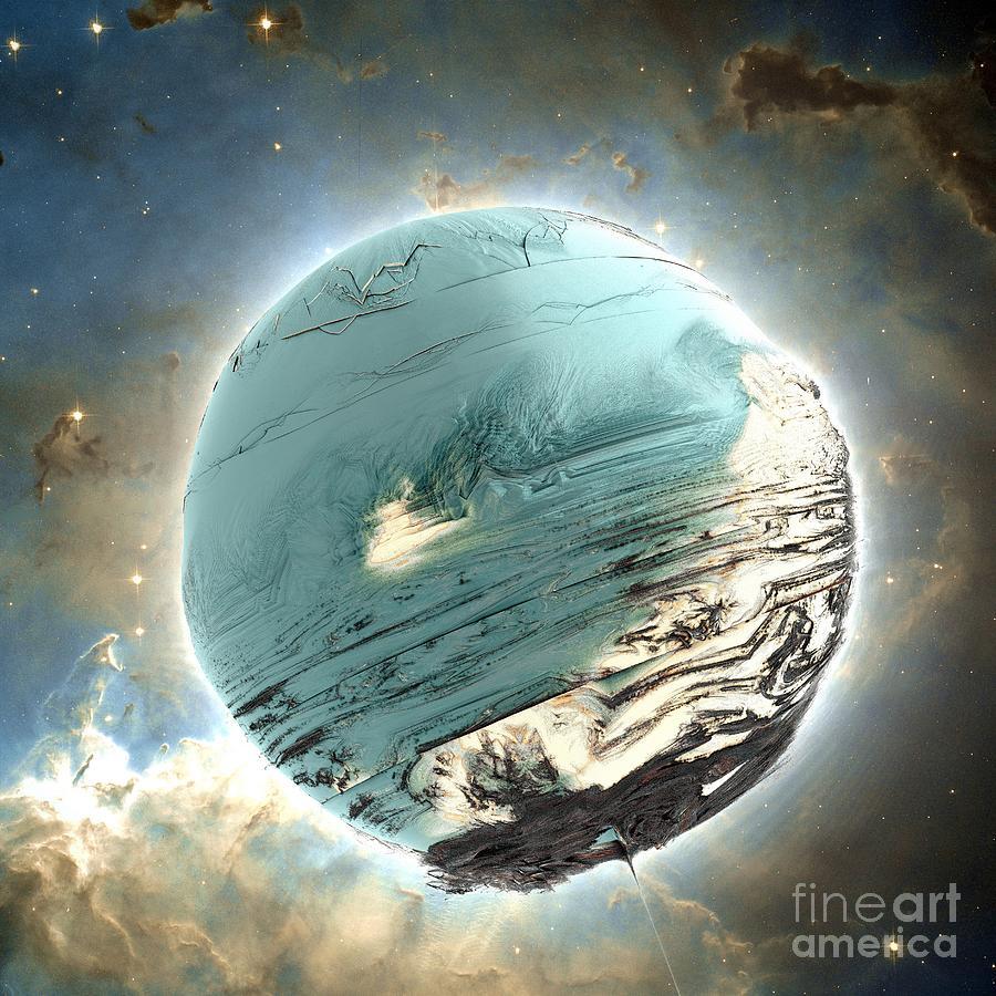 Fractal Art Digital Art - Planet Blue by Bernard MICHEL