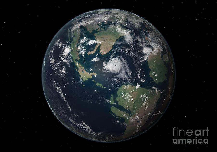 Earth Digital Art - Planet Earth 90 Million Years Ago by Walter Myers