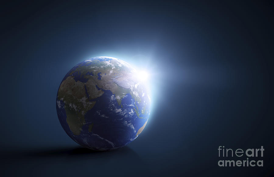 Horizontal Digital Art - Planet Earth And Sunlight On A Dark by Evgeny Kuklev