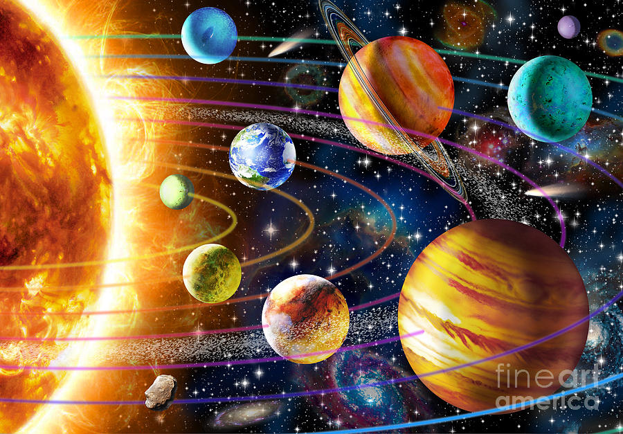 Planets Photograph - Planetary System by Adrian Chesterman