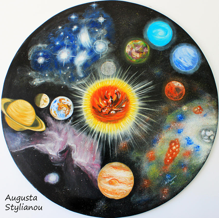 Planets Painting - Planets And Nebulae In A Day by Augusta Stylianou