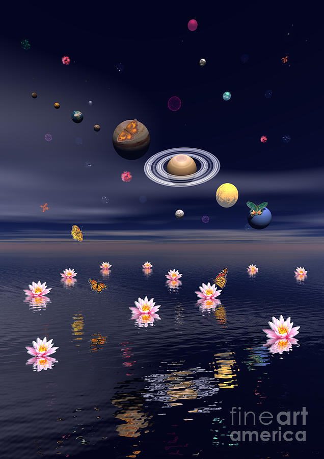 Three Dimensional Digital Art - Planets Of The Solar System Surrounded by Elena Duvernay