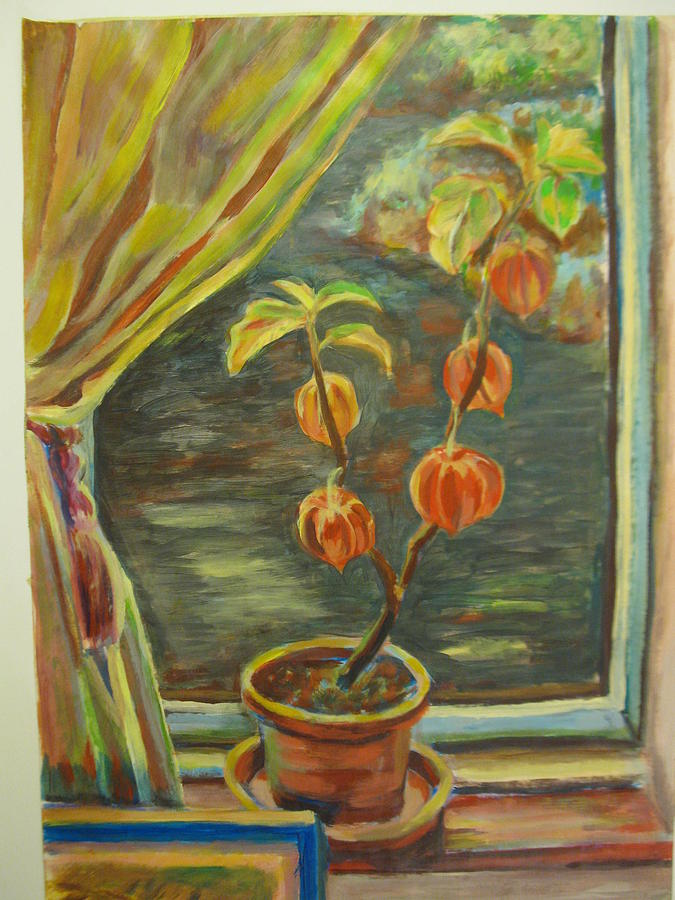 Lantern Plant Painting - Plant In A Window by Ellen Howell