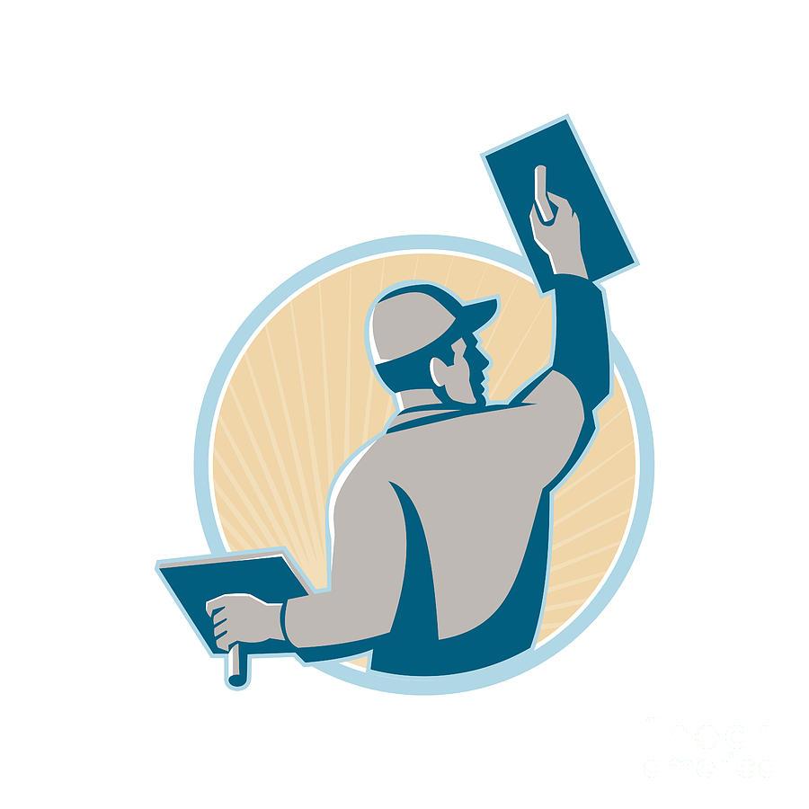 Plasterer Digital Art - Plasterer Construction Worker Trowel by Retro Vectors