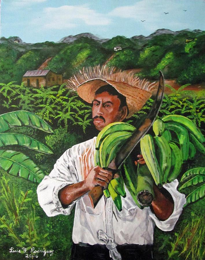 Jibaro Painting - Platano Man by Luis F Rodriguez