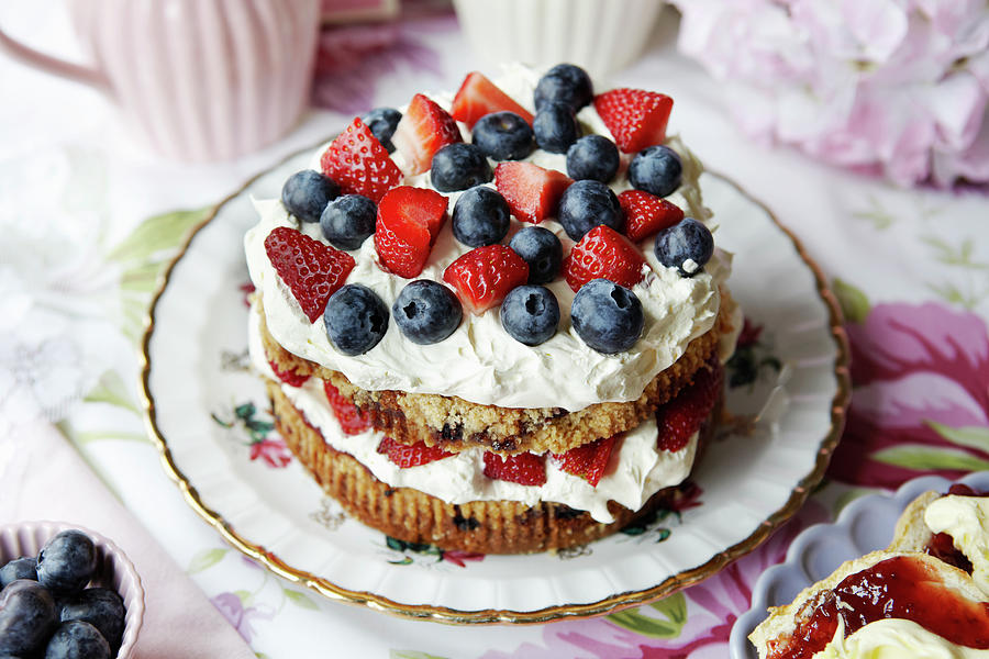 Plate Of Fruit And Cream Cake Photograph by Debby Lewis-harrison