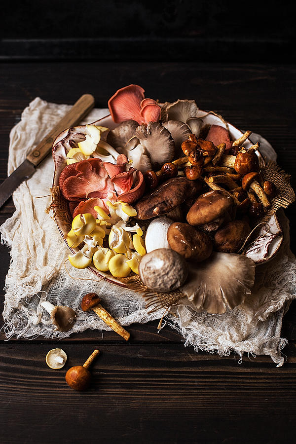 Plate Of Mixed Mushrooms On Wooden Table Photograph by One Girl In The Kitchen