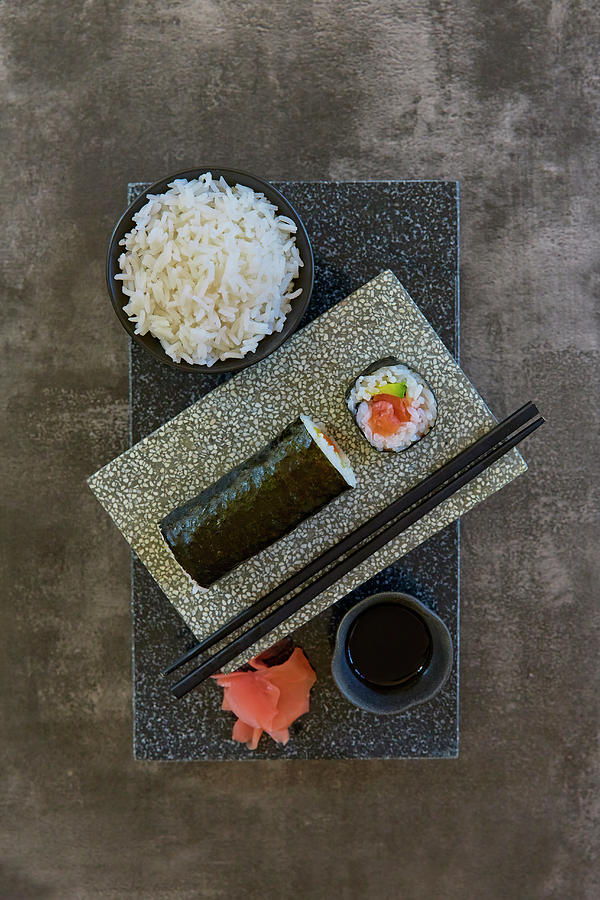 Plate Of Sushi With Rice And Pickled Photograph by Colin Anderson Productions Pty Ltd