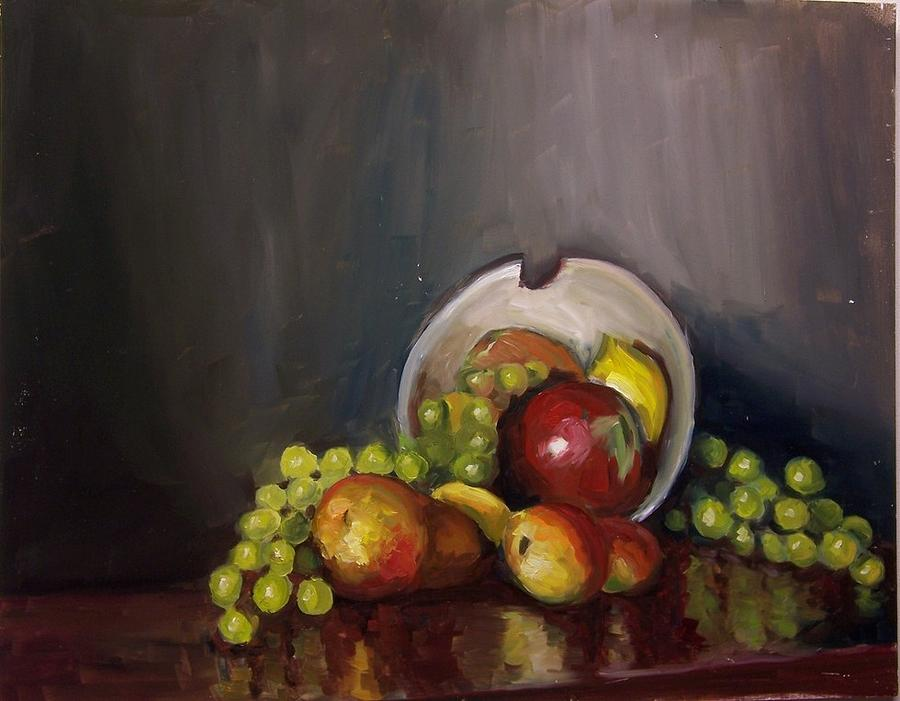 Still Painting - Plate With Fruit by Nicolas Bouteneff