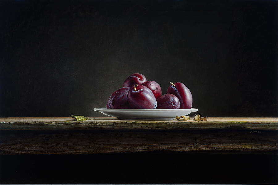 Plums Painting - Plate With Plums by Mark Van crombrugge
