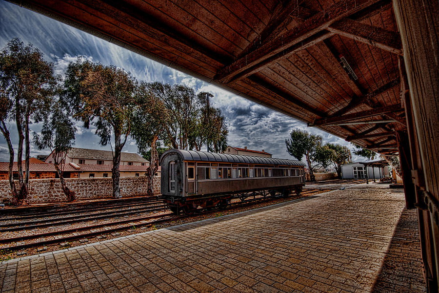 Kaballah Photograph - platform view of the first railway station of Tel Aviv by Ron Shoshani