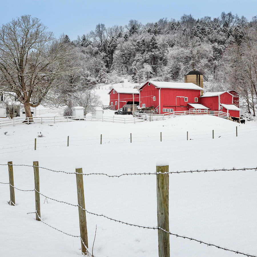 Old Red Barn Photograph - Platt Farm Square by Bill Wakeley