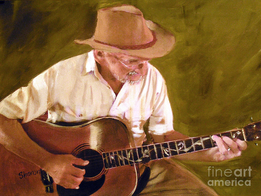 Cowboy Painting - Play Guitar Play by Sharon Burger