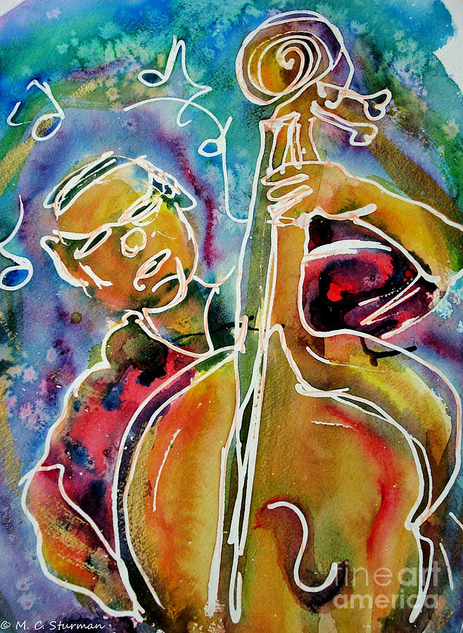 Bass Painting - Play The Blues Bass Man by M c Sturman