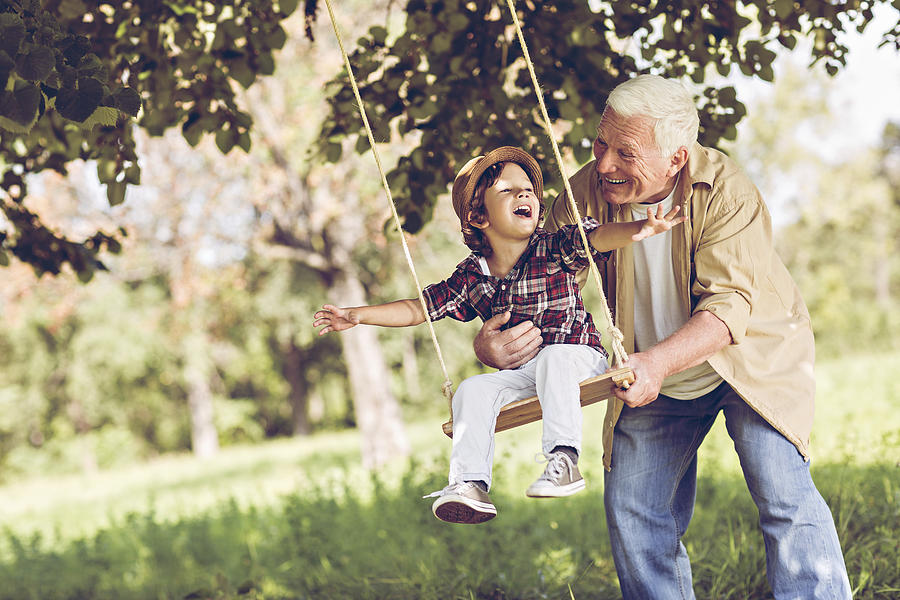Playful Grandfather Photograph by Geber86