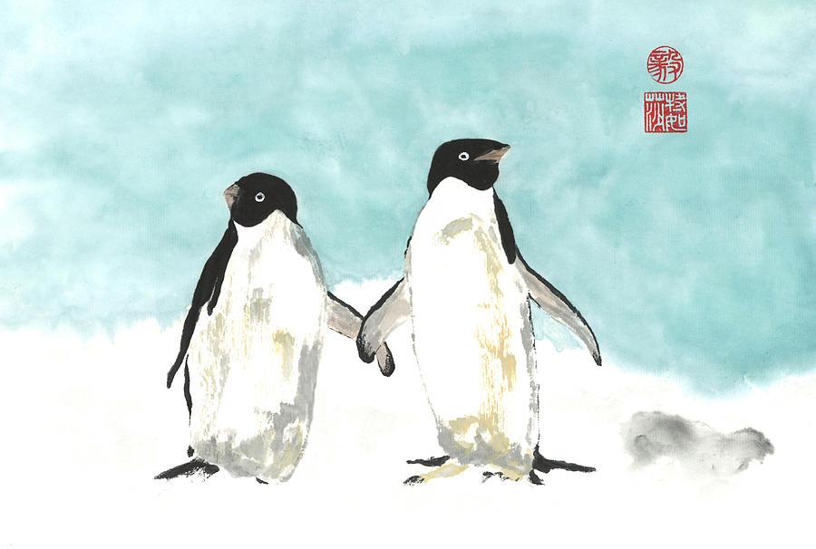 Japanese Painting - Playful Penguins  by Terri Harris