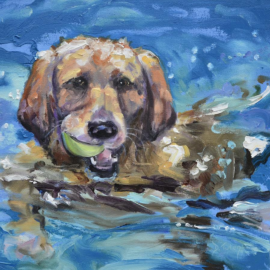 Retriever Painting - Playful Retriever by Donna Tuten