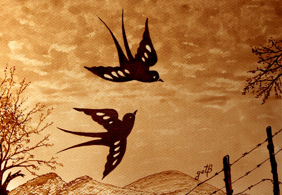 Playful Swallows original coffee painting by Georgeta  Blanaru