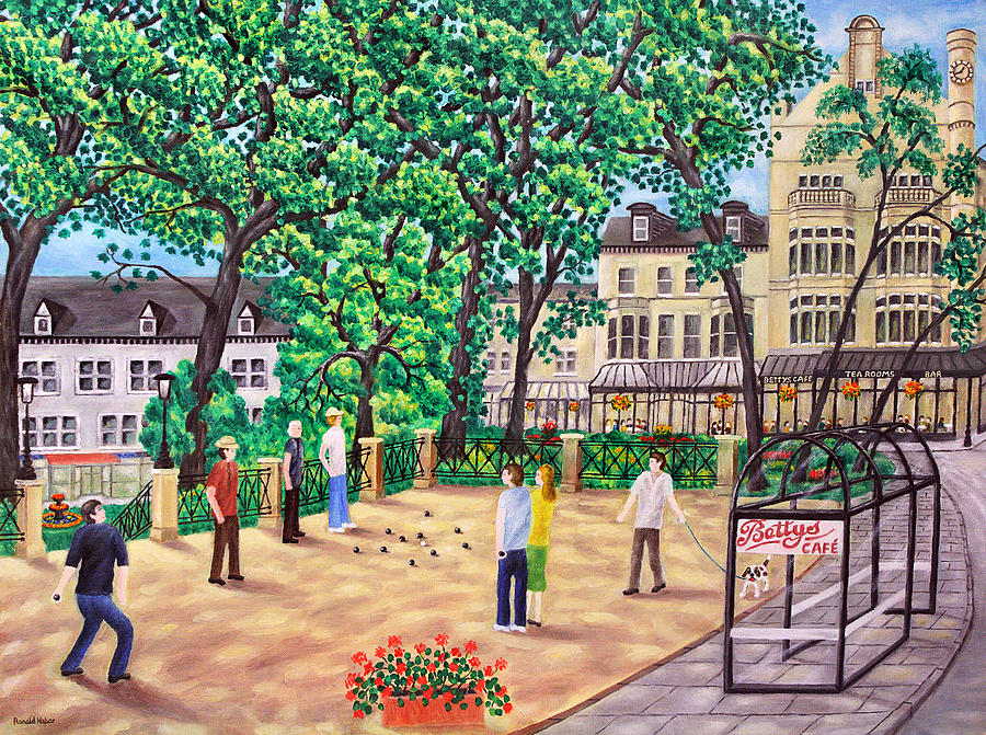 Playing Boules Painting - Playing Boules At Bettys Cafe- Harrogate by Ronald Haber
