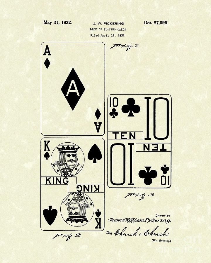 Playing Cards 1869 Patent Art by Prior Art Design