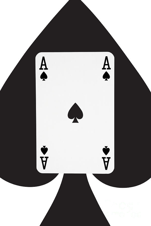 Playing Cards Ace Of Spades On White Background Photograph By