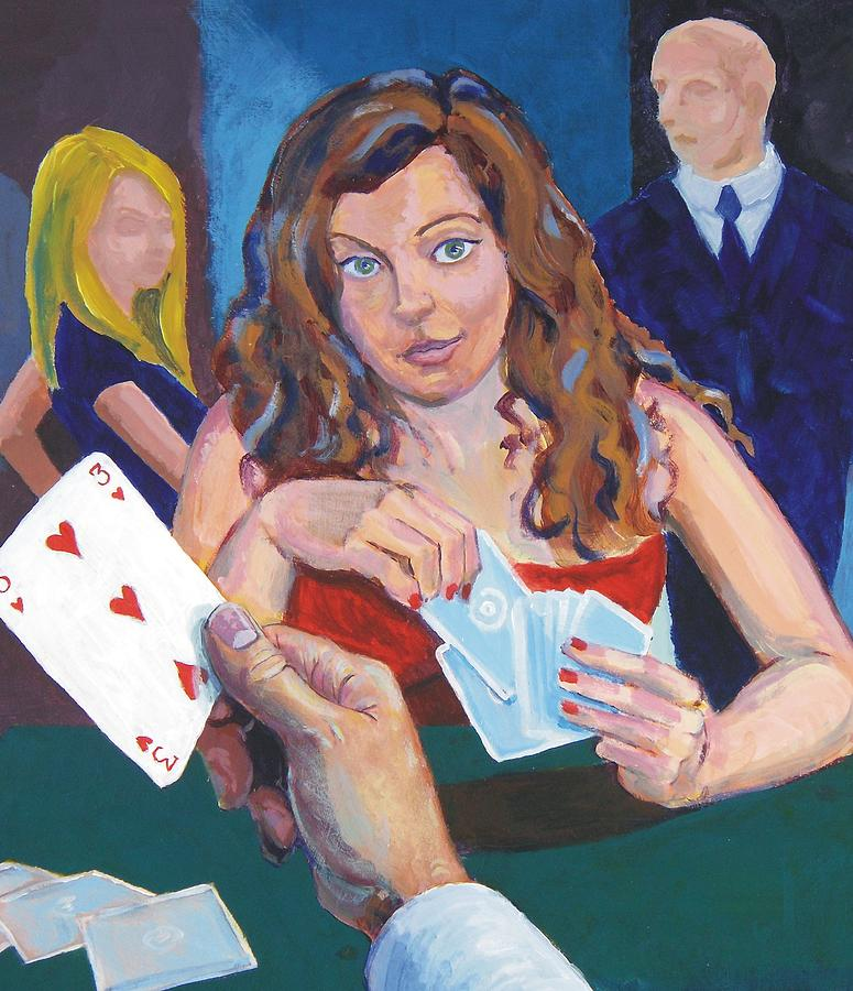 Woman Painting - Playing Cards by Mike Jory