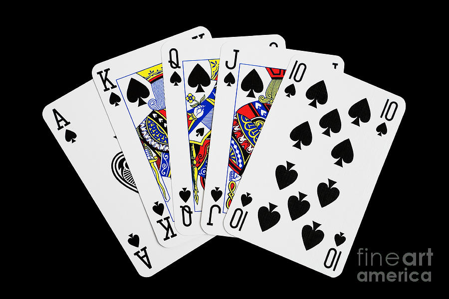 Playing Cards Royal Flush On Black Background Photograph