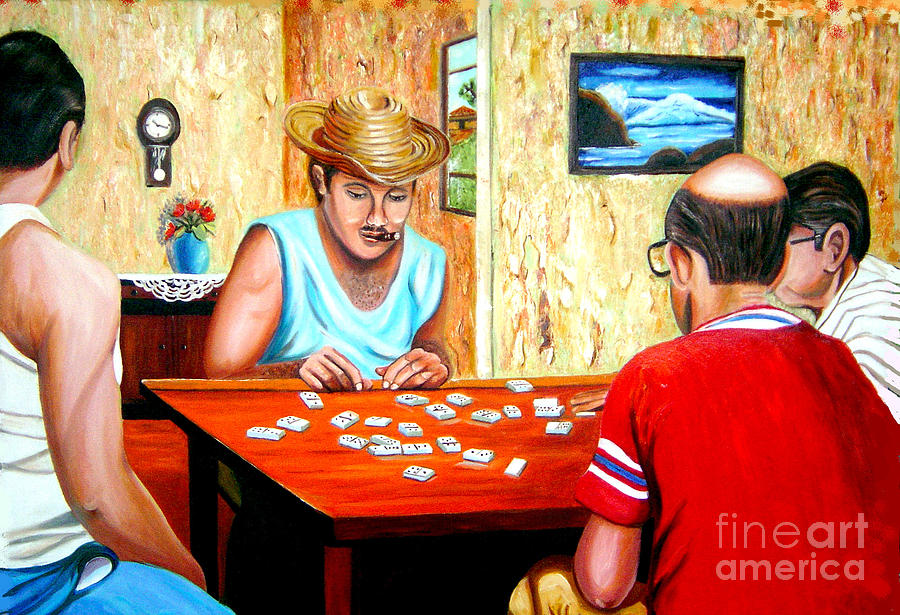 Playing Domino Painting by Jose Manuel Abraham