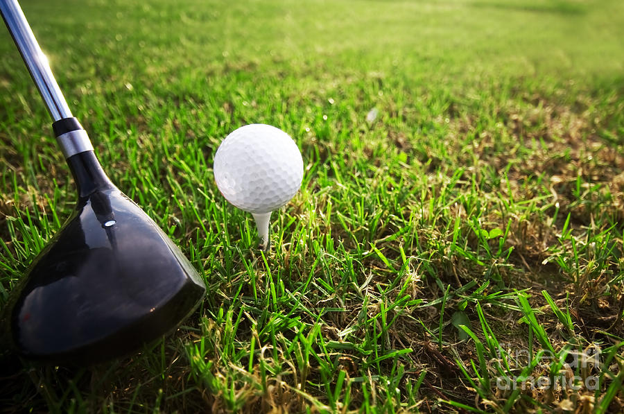 Golf Photograph - Playing Golf. Club And Ball On Tee by Michal Bednarek