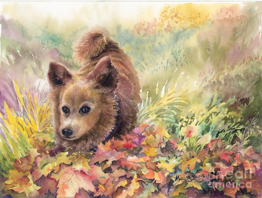Long Hair Chihuahua Painting - Playing In The Leaves by Marilyn Young