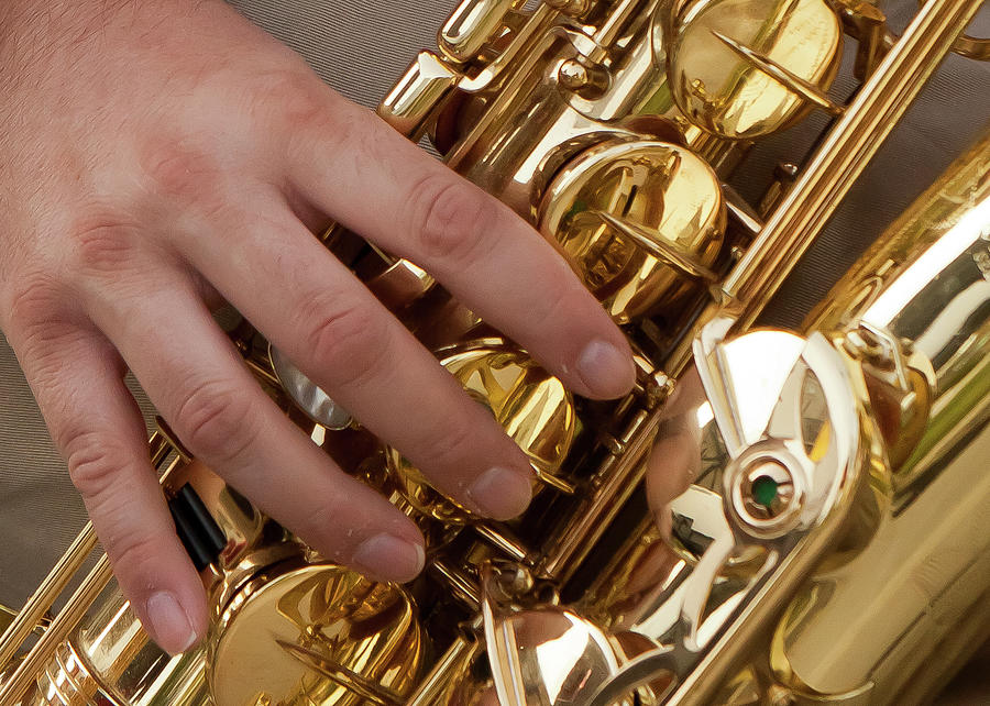 Color Photograph - Playing Sax by Jim Finch